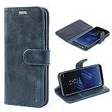 Mulbess Ledertasche im Ständer Book Case / Kartenfach für Samsung Galaxy S8 Tasche Hülle Leder Etui,Dunkelblau