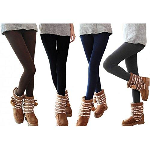 Set kit pack juego 5 leggins térmicos mujer chica felpa elásticos perfecto invierno M/L MWS1108