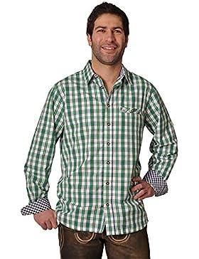 Trachtenhemd Gideon gras/navy langarm Lekra