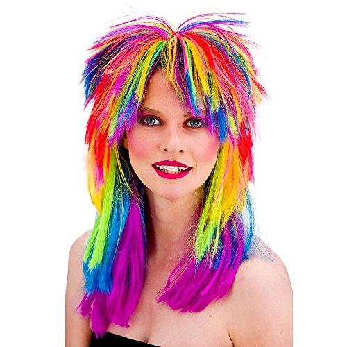 Unisex 80's Retro Rainbow Rocker Wig. Ideal for Toyah, Rave, Punk.