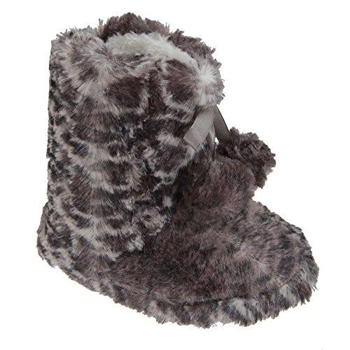 Chaussons imprimés léopard avec pompons - Fille Léopard gris