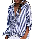 VJGOAL Damen Bluse, Damen Mode Striped Printed Langarm-lose Bluse Casual Arbeit Herbstliche T-Shirt Tops (Blau, 42)