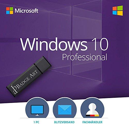 MS Microsoft Windows 10 Pro 1PC Original 32/64-Bit inkl. Installationsdaten auf 8GB USB-Flash Drive