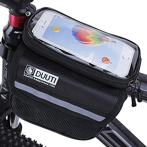 Neuf Plus loin Sac de cadre de vélo de vélo avant Sacs pour Smart support pour téléphone portable étanche de vélo Pouch pour téléphone portable support de fixation au sein de 5,7/12,2cm Top Tube Bag, Gray & black