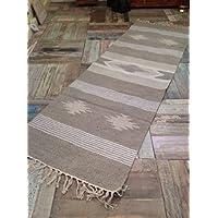 Natural a mano algodón y yute diseño geométrico de corredor alfombra 70 cm x 200 cm 6144