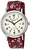 Timex TW2R29700 Weekender Violet Floral Reversible Nylon Slip Thru Strap Women's Watch (TW2R29700)