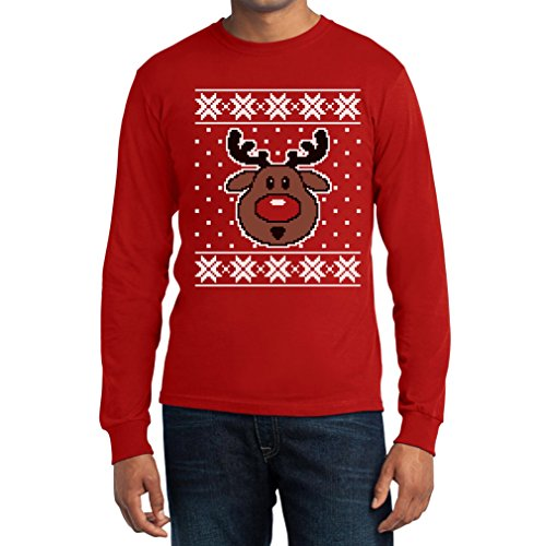 Shirtgeil Hässlicher Weihnachtspullover Rudolph Rudolf Rentier Langarm T-Shirt Rot