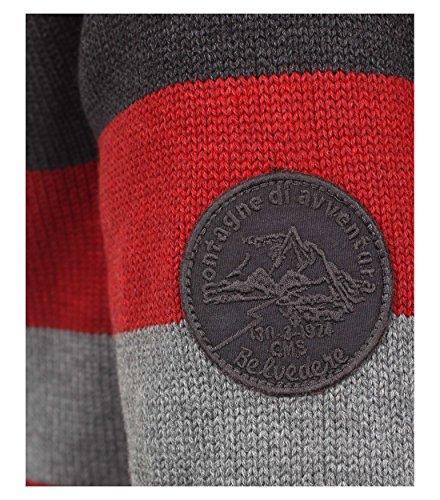 Casa Moda - Herren Pullover, gestreifter Troyer aus 100% Baumwolle (462590700 A) Rot (74)