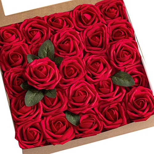 Ksnrang Künstliche Rosen Blumen Schaumrosen Foamrosen Kunstblumen Rosenköpfe Gefälschte Kunstrose Rose DIY Hochzeit Blumensträuße Braut Zuhause Dekoration (25 Stück, Weinrot)
