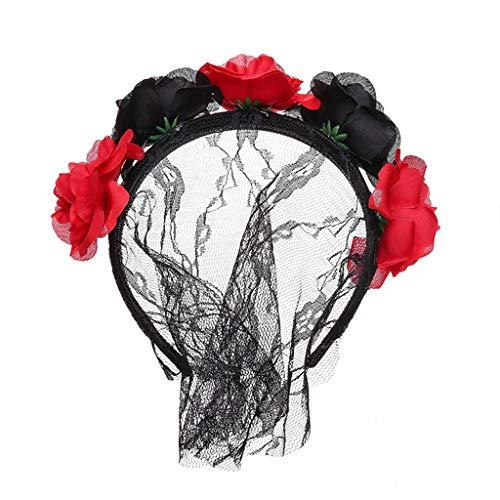 Lili Cosplay Kostüm - Frauen Spitze Schleier Abdeckung Rose Blume Stirnband Stirnband Weihnachten Urlaub Haarschmuck, Hochzeit Ostern Party Cosplay Kostüm Zubehör,Rot