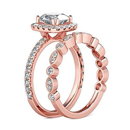 Liquidazione offerte, fittingran anelli a forma di fiore con foglie di vite floreale a forma di fiore fidanzamento fedi nuziali regalo gioielli (8, oro rosa)