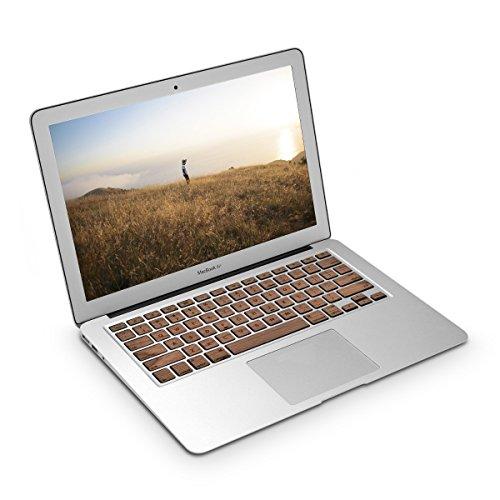kwmobile Pegatina de teclado para Apple MacBook Air 13''/ Pro Retina 13''/ 15'' (a mediados de 2016) QWERTY (US) en madera de nogal protección para teclado lámina adhesiva