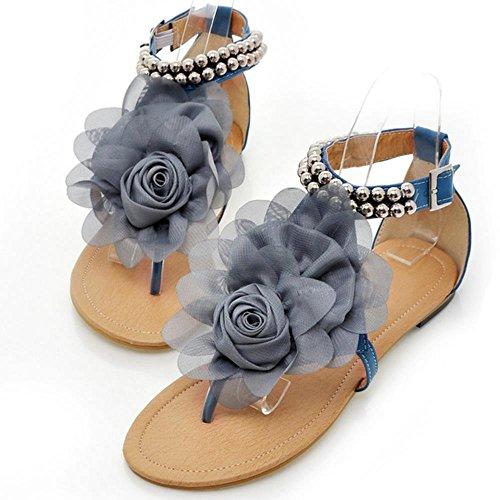 COOLCEPT Femmes Big Fleur Bout rond Tongs Appartements Sandales Confortable Design Bout ouvert Sandales 3311 Bleu