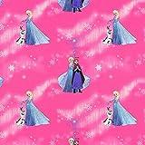 Fabulous Fabrics Cretonne Eisprinzessin und Olaf – pink — Meterware ab 0,5m — zum Nähen von Kissen und Tagesdecken, Vorhängen und Tischdekorationen