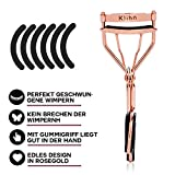 Klihn Exclusive Eyelash Curler (Roségold Shiny) - the Make-Up Utensil for Perfectly Curled Eyelashes Including 5 Extra Replacement Eyelash Rubber Pads