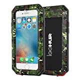 LEEHUR- iPhone 7 Metal Case, Full-Body Dustproof Shockproof Scratch-proof Water Resistant Heavy Duty Shell Case Camouflage with Tempered Glass Film for iPhone 7 (iPhone7 4.7inch, Green)