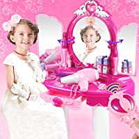 Girls Dressing Table Set, Deluxe Princess Vanity Set Dressing Table Stool Light & Music Play Set Toy Makeup Accessories for Kids Birthday Christmas Gift