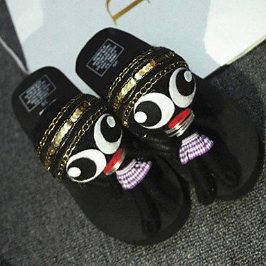 zhENfu donna pantofole & amp; flip-flops Estate Slingback Casual in tessuto nero Bianco Rosa Black