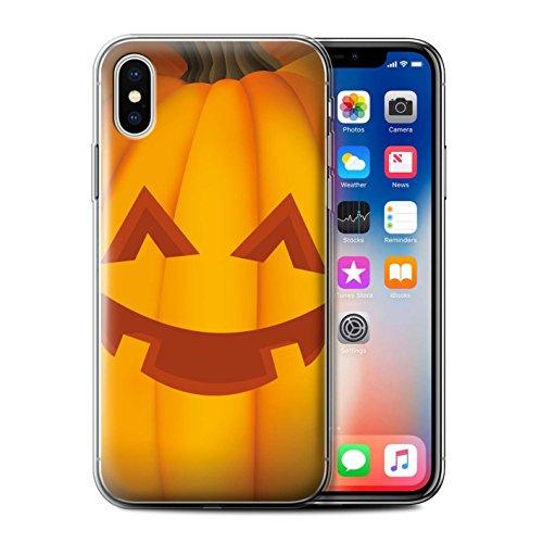Stuff4 Gel TPU Hülle / Case für Apple iPhone X/10 / Traurig Muster / Halloween Kürbis Kollektion Glücklich