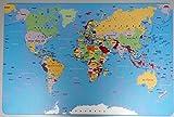 Schreibtischunterlage Weltkarte, Landkarte, Erde 40 x 60 cm abwischbar Welt Meere