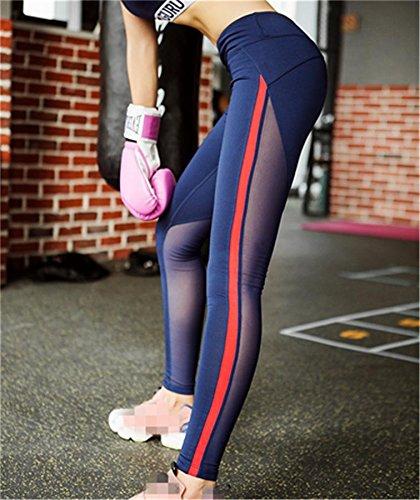 Femme pantalon couture de yoga / fitness pantalon stretch serré / pantalon de jogging Blue