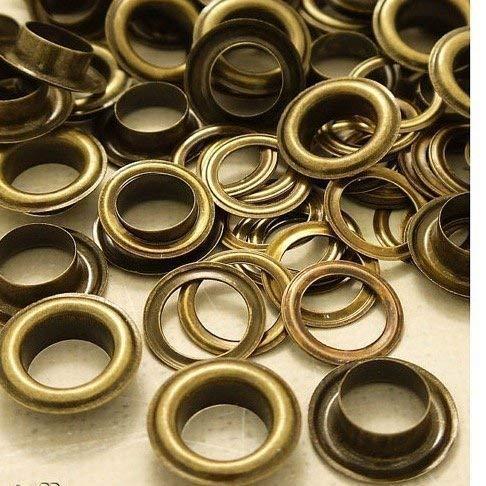 Trimming Shop 100 X 14mm Messing Ösen für Banner Rostfreie Ösen für Dekorative Bänder, Schnürung und Stoff in Kunst und Nähen Projekte für Taschen, Kleidung und Scrapbooking - Gold -