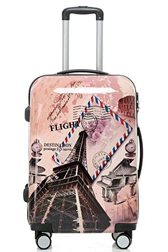 BEIBYE Reisekoffer Hartschalen Hardcase Trolley Zahlenschloss Polycarbonat SET-XL-L-M- Beutycase (Eiffel Tower, M(Handgepäck)) - 2