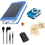 Best Combo Samsung Galaxy Note7 Compatible Ceritfied Probeatz Reliable Power Bank-20000Mah With Solar Led Charging With Free Stylish MP3 INT-888 Ipod, Smart OTG, Mobile Ring Holder & Earphones With Extra Bass And Premium Sound Quality