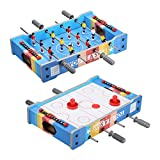 Virhuck Mini Table 2 en 1 Baby-Foot + Air Hockey 51 * 31 * 10.5 cm Jeu de Table pour Enfants Ados et Adultes Cadeau idéal Anniversaire