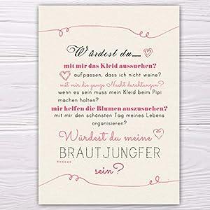"""A6 Postkarte """"Willst du meine Brautjungfer sein?"""" in sand/rosa Glanzoptik Papierstärke 235 g / m2 Geschenk für Schwester…"""