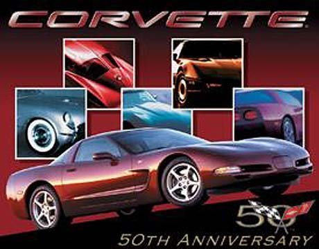 Chevrolet Chevy Corvette 50th Anniversary Tin Sign Poster - 13x16 , 16x13 by Poster Discount