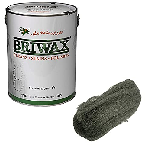 Briwax 5kg Wax Polish Rustic Pine Complete With Very Fine 200g Steel Wool