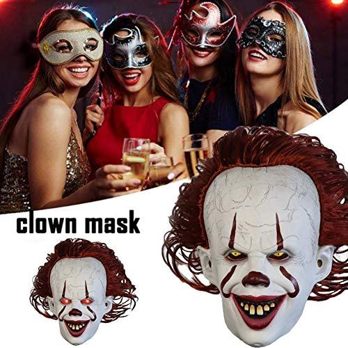 Nur Pennywise Kostüm - inshias Horror Clown Maske Latex Pennywise Mask LED Leucht Cosplay Maske Cosplay Scary Vollgesichtsmaske 2017 Film Maske Clown Zurück Seele Gruseliges Kostüm für Erwachsene,One Size