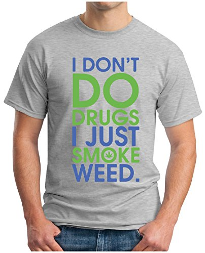 OM3 - SMOKE WEED - T-Shirt I don't do Drugs THC 420 Ganja Joint Kush Reggae Music Fun Geek, XL, Grau Meliert (420 T-shirts Bedruckte Weed)
