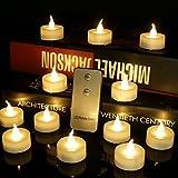 24 Stück LED Teelichter Kerzen mit Fernbedienung und CR2032 Batterien Unscented Flammenlose Teelicht Elektrische Gefälschte Kerze für Zuhause Weihnachtsschmuck Hochzeit Tisch Geschen (24 X Warmweiß)