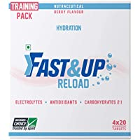 Fast&Up Reload Electrolytes Energy Drink and Instant Hydration Sports Drink - 80 Effervescent Tablets - Berry Flavor