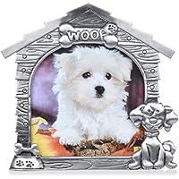 Petacc Pet Memorial Bild ,Rahmen Aluminiumlegierung Hundefoto Rahmen Haustier Sympathie Geschenk, Innenrahmen 4''x4 '', Silbergrau