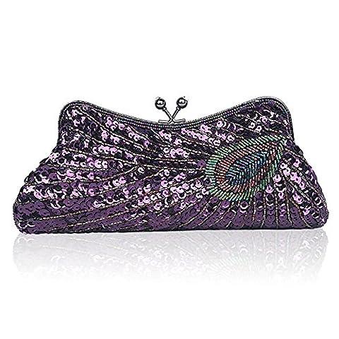Sacs à main Ladies Bead Broderie Sequins Peacock Shoulder Diagonal Dress Evening Bag , purple