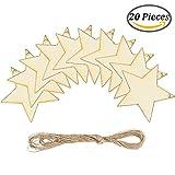 Keriber 20 Stück Holz Stern hängende Weihnachtsschmuck mit Bindfäden für