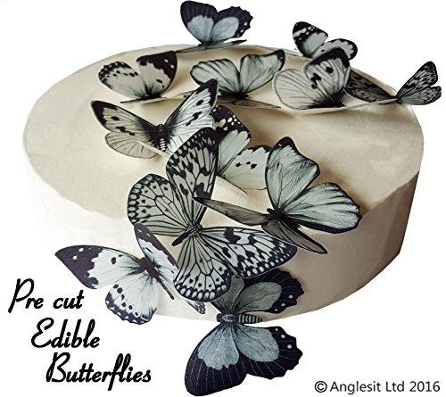 schöne schwarze & graue Schmetterlinge essbares Reispapier/Oblatenpapier Kuchendekoration, Dekoration für Cupcake Kuchen Dessert, für Geburtstag, Hochzeit Babyparty Halloween (L) ()
