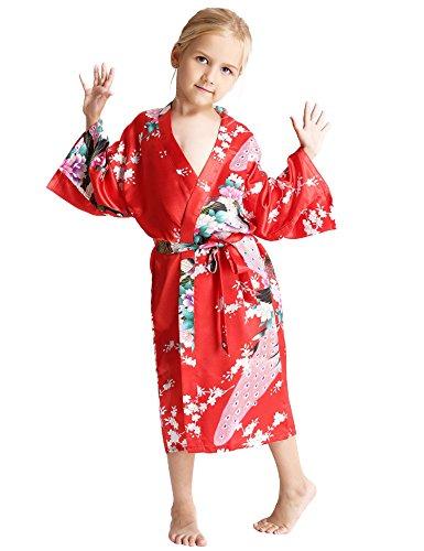 Aibrou Enfant kimono peignoir satin Pour enfant brodé Fille chemise nuit éponge femme robe Paon Fleurs de chambre longue garçon grande taille Rouge 12 ans