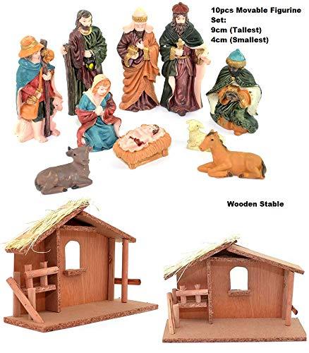 Shatchi 15675-NATIVITY-SET-SETS - Figuras de madera tradicional para decoración navideña, decoración navideña, exhibición festiva de madera, caseta de decoración para el hogar, multi