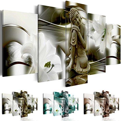 Quadro 200x100 cm ! Tre colori da scegliere - 5 Parti - Grande formato - Quadro su tela fliselina - Stampa in qualita fotografica -- Buddha Fiore Giglio h-A-0028-b-p 200x100 cm B&D XXL