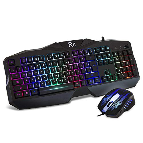Rii RM400 Teclado Gaming Rainbow Conjunto de Pack de teclado y ratón para gamers para PC
