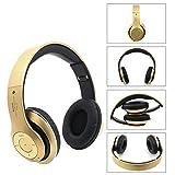 Sotefe® 4 EN 1 Casque audio, Stéréo Casque Bluetooth Microphone Hi-Fi Écouteurs Sans Fil Sport Headphone Musique FM Radio, TF Carte/MP3 - Doré