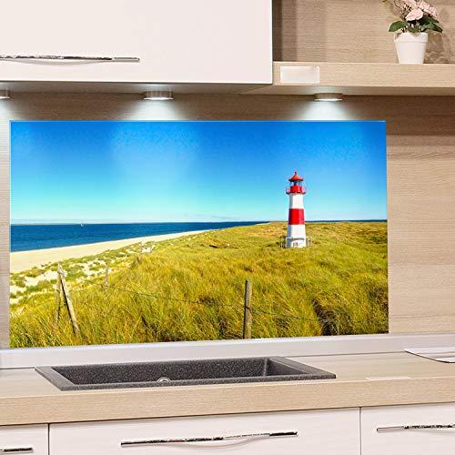GRAZDesign Küchenrückwand Glas Natur - Spritzschutz Küche Glas Sylt - Glasrückwand Küche Landschaft / 100x50cm -
