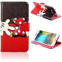 Dokpav® Samsung Galaxy Young 2 G130 Funda,Ultra Slim Delgado Flip PU Cuero Cover Case para Samsung Galaxy Young 2 G130 con Interiores Slip compartimentos para tarjetas-Cartoon Rojo bow