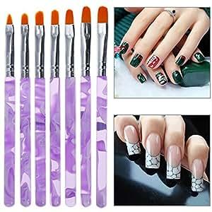 Faburo 7pcs Brosses à Ongles Nail Art Brosses et Déco d'ongles gel UV ou acrylique