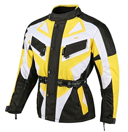 Bangla 1535 Kinder Motorrad Jacke Textilmaterial Cordura600 Schwarz-Gelb-weiss 152