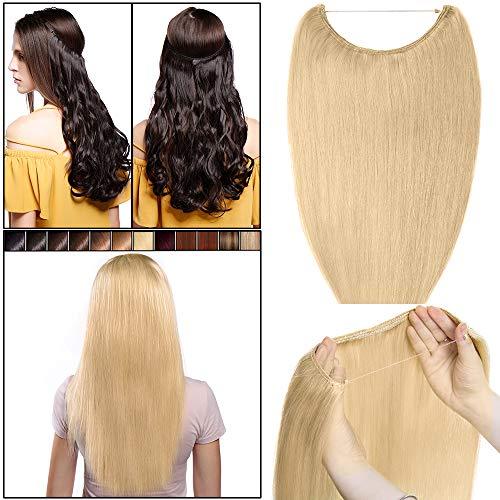 40cm-55cm extension capelli veri filo invisibile #24 biondo chiaro - capelli naturali umani 100% remy human hair lisci lunghi estensioni wire trasparente no clip one piece 40cm 60g